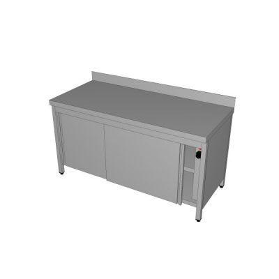 Grijani zatvoreni radni stol sa zaštitom zida i kliznim vratima